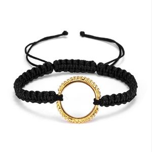 Gold Circle Quote Braided Black Rope Lace Bangle
